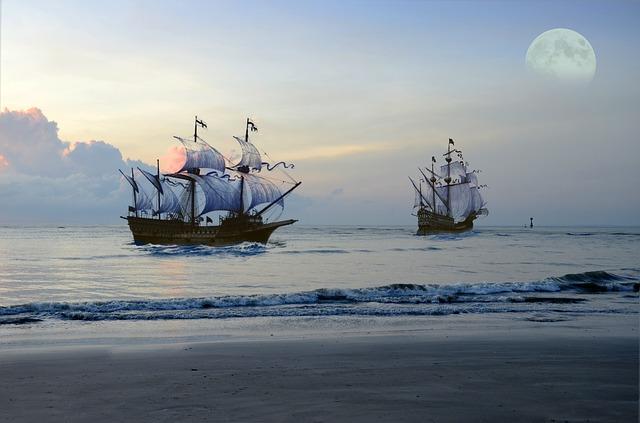 航海に旅立つ2隻の帆船